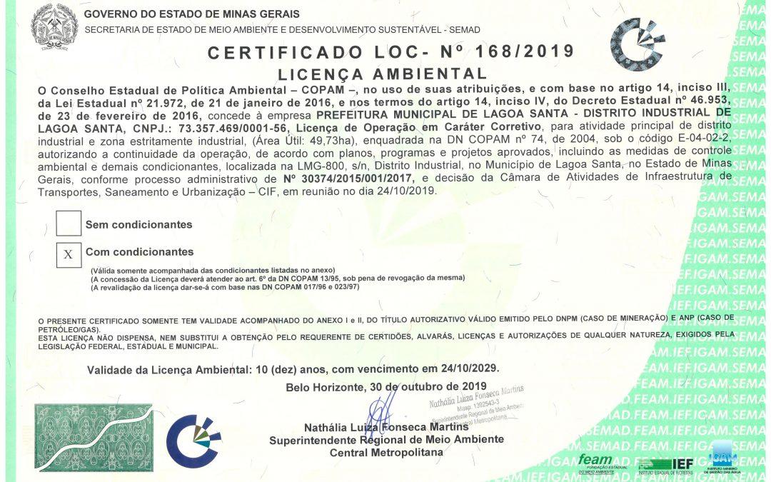 GEOLINE ENGENHARIA APROVA LICENÇA DE OPERAÇÃO CORRETIVA DO DISTRITO INDUSTRIAL DE LAGOA SANTA